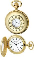 Burleigh Half Hunter Pocket Watch Quartz Movement Gold Plate Free Engraving 1232