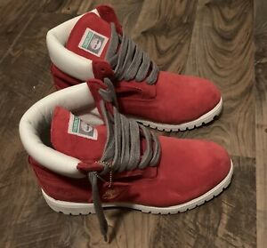 SHIPS SAME DAY Timberland 6 Inch Red & White Mens Size 11 Sz 11M Rare
