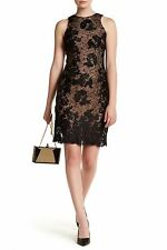 DRESS THE POPULATION 'CELINE' FLORAL LACE DRESS sz S