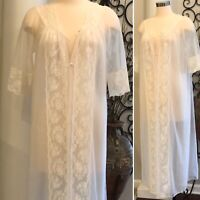 Vintage Women's Sheer Lace Chiffon Peignoir Robe Shadowline Size Small Lingerie