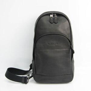 Coach Houston Sling F49312 Men's Leather Fanny Pack,Sling Bag Black BF529766