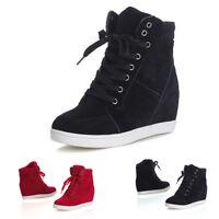 Mujer Zapatos Casuales con Cordones Deportivo Zapatillas High Top Tacón Cuña