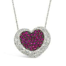 LeVian 18K White Gold Pink Sapphire Round Diamond Love Heart Pendant Necklace