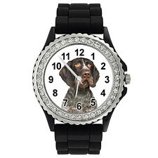 Deutsch Drahthaar Dog Crystal Rhinestone Mens Ladies Silicone Wrist Watch SG338P