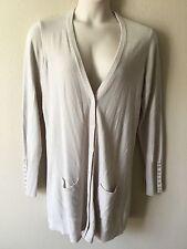 Dg2 Diane Gilman Long Sleeve Beige Sweater Cardigan Jacket Size XL