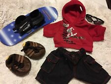 BUILD A BEAR LOT Blue ZOOM Snowboard Shoes Winter Hoodie Black Pants Shades EUC