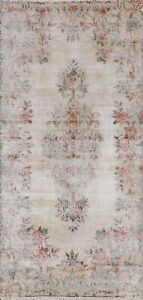 Muted Semi-Antique Floral Traditional Runner Rug Evenly Low Pile Handmade 2x5 ft