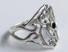 Bague en filigrane travail Onyx 925er Argent Vintage 70er silver ring