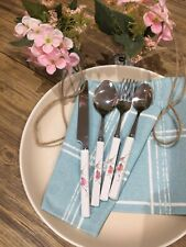flatware 24 PCS Stainless Steel Ceramic Handle Knives Spoons Forks cutlery set