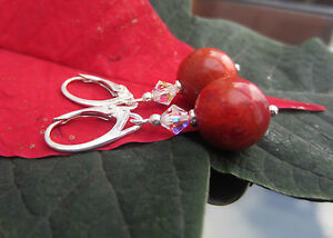 Gemstone Stunning Red Coral 12 mm 925 Sterling Silver Earrings Leverback