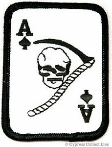 ACE of SPADES EMBROIDERED PATCH SKULL DEATH GRIM REAPER IRON-ON VIETNAM WAR new