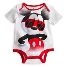 DISNEY STORE MICKEY MOUSE CUDDLY BODYSUIT BABY 0/3 MOS MICKEY IN COOL SHADES NWT