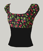Black cherry gypsy top rockabilly psychobilly retro 50s pin-up 8-20