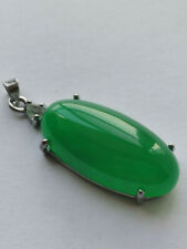 Large Hand Crafted Green Jade Silver Sterling Necklaces Green pendant A12