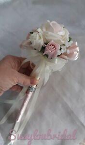 BLUSH PINK FLOWER GIRL ROSE WAND WEDDING