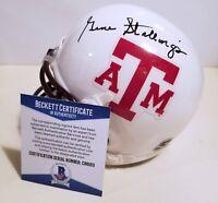 Gene Stallings Signed Texas A&M  White Mini Helmet Aggies NCAA Beckett COA