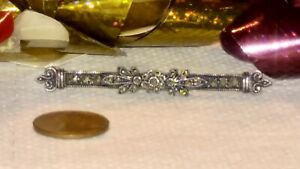 Fabulous Great Judith Jack Sterling Silver & Marcasite Floral Bar Brooch or Pin