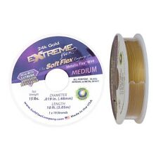Soft Flex Extreme 24k Gold Beading Flex Wire .019inch 10ft Metallic Round