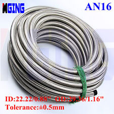 AN16 16AN Stainless Steel Braided Fuel Line Oil Gas Hose 1 FEET Silver