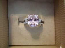 Simulated Pink and White Diamond Ring in 925 Sterling Silver-Size 7-6.35 Carats