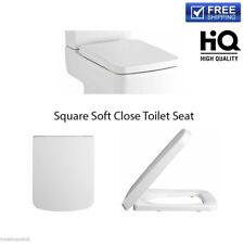 Modern White Soft Close Toilet Seat Bathroom WC Quick Release Square Shape UK