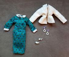 *Lot s- Barbie Doll Clothes- Vintage Mod Green Dress #3679 'Fur' Jacket Ot Shoes