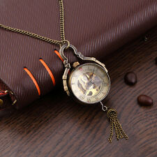 Antique Transparent Glass Ball Mechanical Pendant Pocket Necklace Watches HR