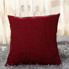 2pcs Cotton Linen Cushion Covers 18x18 Throw Pillow Case Square Cushions Shell 45cm*45cm(18x18) Burgundy