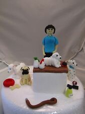 lady, dog groomer, poodle parlour figure and dogs, edible birthday cake topper