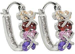 Silver Hoop Huggie Earrings Multi CZ Crystal Ear Studs Hoops White Gold Plate