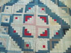 Early 1900's cotton hand stitched cutter quilt Log Cabin type 80 x 80 inches