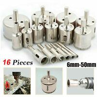 16Pcs Diamond Holesaw Hole Saw Drill Bit Set HSS Metal Tile Marble Glass Cutter