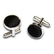 Plain Satin Silver Plated Cufflinks- black
