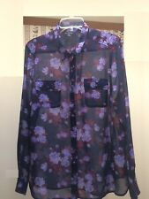 American Eagle Outfitters SHEER Long Sleeve Navy with Blue Roses Top - Size XL