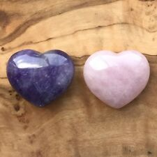 Rose Quartz Heart and Amethyst Heart Gift Set 25mm Love Healing Calm Meditation