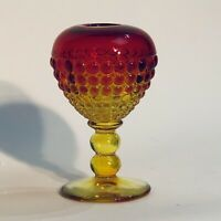 "Vintage Viking Glass Amberina Ancestral Ivy Ball Vase 6"" SMALL CHIP SEE PICS"