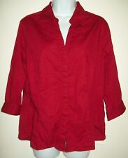 Riders Womens Top Size Large Red Button Up Blouse 3/4 Sleeve Career Dress Shirt