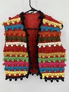 Vintage Child's Hand Embellished Mexican Felt Vest Multi Color Pom Poms