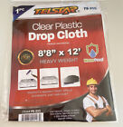 """Clear Plastic Drop Cloth Waterproof Size 8'8"""" x 12' / Heavy Weight /brand New"""