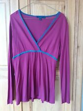 Boden mock wrap top wine with velvet trim size 14