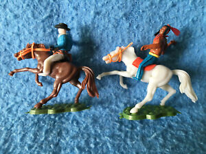 Lot of 2 COWBOY & INDIAN on Horses Timpo/Swoppet Toys Vintage Plastic Figures