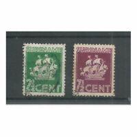 Suriname 195-196 Scheepje  l VFU/gebr  CV 9,6 €  Pracht !!