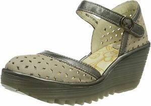 Fly London Yven029fly Cloud Bronze Womens Leather Wedge Sandals