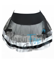 #05 Sexy Black With White Satin Stripe Tulle Petticoat Tutu Dance Costume Skirt