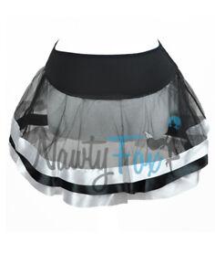 #05 Sexy Black With White Satin Stripe Tulle Petticoat Tutu Dance Costume Skirt