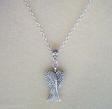 Pretty Guardian Angel Wings Pendant S/P Chain Necklace in Gift Bag - Protection