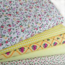 Fat Quarters Fabric Bundles YELLOW BLENDER Craft Floral Gingham Bunting Polkadot