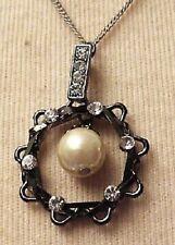 pendentif collier bijou vintage couleur argent vieilli cristal diamant * 3839