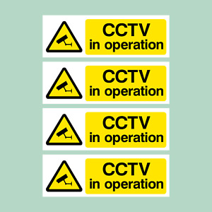 CCTV Pack of 4 Security, Camera, Warning Plastic Sign / Sticker (MISC2)