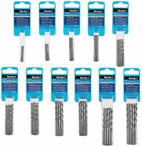 BlueSpot Metal HSS Drill Bits Set 10pc Pack 1mm to 4.8mm for Steel & Wood Metric